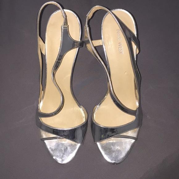 9b1e2e99a28 Nine West Silver Strap Heels